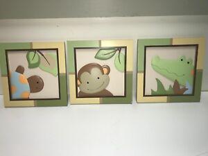 Papagayo by Lambs & Ivy New 3 PIECE WALL ANIMAL ART NURSERY BABY DECOR