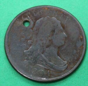1804 Draped Bust Half Cent - holed