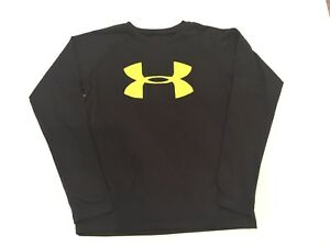 EUC Under Armour Youth Shirt Top Long Sleeve Black Yellow Heat Gear Size YMD