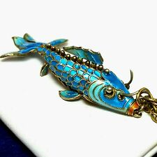 Vintage Chinese Export Sterling Enamel Articulated Fish Pendant Chain Necklace