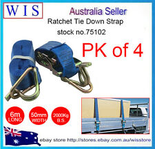 PK of 4 Ratchet Tie Down(Hook &Keep) 1000Kgx50mm 6m w Swan Hook,Ratchet Straps