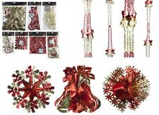 Red/Gold CHRISTMAS FOIL HANGING CEILING DECORATION GARLAND STAR SNOWFLAKES Hang