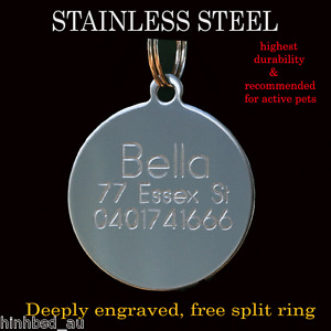 Stainless Steel Circle Pet Dog Cat Tags Free Customised Personalised Engraving