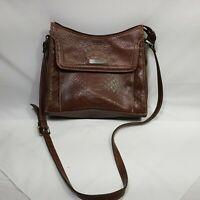 """Liz Claiborne Shoulder Bag Purse Faux Snake Skin Brown Adjustable Strap 7"""" Tall"""