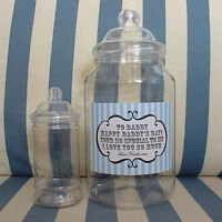 GIANT LARGE EMPTY PERSONALISED RETRO SWEETS VICTORIAN JAR WEDDING PARTY BIRTHDAY