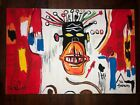 Jean-Michel Basquiat Hand-painted acrylic painting on wood VTG ART