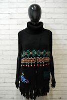 Desigual Donna Taglia L Mantella Cardigan Maglione Lana Maglia Pullover Sweater