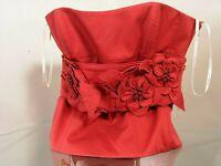 "KAREN MILLEN woman ""BUSTIER"" rubin red embroidered flowers pre-loved size UK16 L"