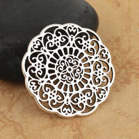 10Pcs Antique Silver Round Filigree Hollow Flower Connectors Jewelry Findings