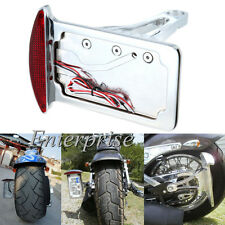 Chrome Side Mount Vertical License Plate Tail Rear Light For Harley Choppers UK