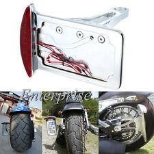 Red Leds Side Mount License Plate Holder Bracket Tail Light For Harley Custom