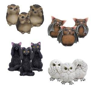 Three Wise Owls Bats Cats Hedgehogs 8cm High Nemesis Now See Hear Speak No Evil