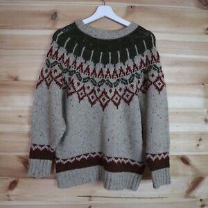 Harris Wilson Jumper Sweater Chunky Knit Wool Icelandic Fair Isle Medium Oat
