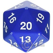 55mm Jumbo 20 Sided Die - Blue with White Game Play Learn Fun Hobby