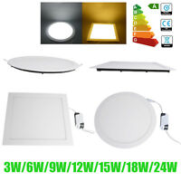 24W 18W 15W 12W 9W 6-3W LED Ceiling Panel Light Recessed Fixture Lamp Ultra Slim