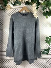 ZARA KNIT Oversized Sweater Blouse Dress Gray Long Sleeve Cozy Size Small