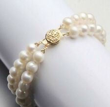 2 Rows 9-10mm White Akoya Cultured pearl Bracelet Bangle 7.5''
