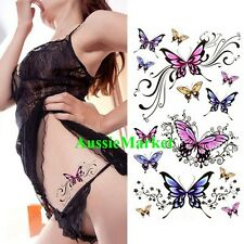 1 x temporary tattoo sticker sheet ladies girls body art fancy dress butterfly