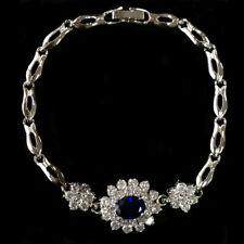 Cz Stone 18K White Gold Plated Brass Bracelet Cubic Zirconia Blue Sapphire