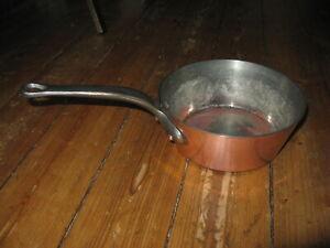 schwere Kupfer Pfanne Kasserolle Sauteuse Topf 20cm Frankreich