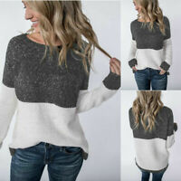 Women's Knit Sweater Long Sleeve Color Block Ladies Casual Pullover Jumper Tops