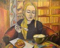 It's coffee time. Oil painting on canvas 40x50 cm, original, Portrait POP ART