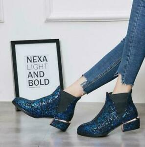 Womens Shiny Paillette Ankle Boots Fashion Round Toe Chunky Heels Casual Shoes