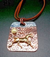 Horse Necklace on Mixed Metal Pendant Accent Pearl Hammered Copper Silver Plated