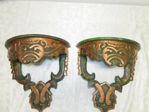 Vintage Moroccan Green & Gold Wood Carved Wall Sconces Shelves