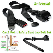 Black Polyester 3 Point Car Truck Safety Seat Lap Belt Set Automatic Retractable