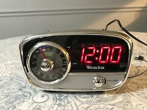 Retro Westclox 80193 Classic AM/FM Alarm Clock Radio With 3.5mm jack Tested