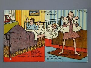 R&L Postcard: HGL Comic, F Macleod, Bachelor Married Man Nightmare