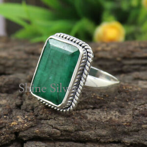 Green Emerald 925 Sterling Silver Gemstone Women Promise Band Ring All Sizes
