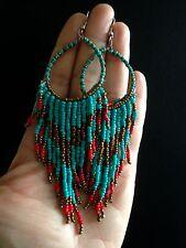 Earrings Big Long Hoop Tassel Beaded Hippie Bohemian Boho Tribal Gypsy A1042