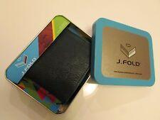 NWT Authentic  J.FOLD Genuine Leather Slim Fold Billfold Wallet / Navy Green