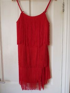 stunning red  fringe flapper dress Coast 12,layered and tasselled