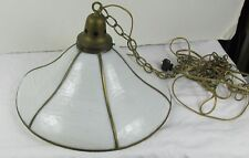 New listing Antique hanging slag glass and brass round pendant lamp six panels