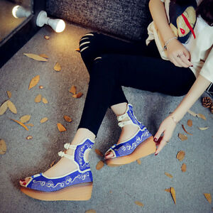 Chinese Style Lady Progressive Color Embroidered Sandal Buckle Fish Mouth Shoes
