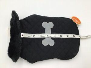 SimplyDog Black Fur Collar Gray Bone Fleece Lined Vest Coat Jacket Dog