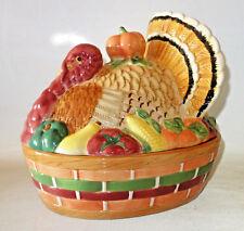 "Thanksgiving ceramic soup toureen stuffing serving dish 11""x9"" centerpiece Vtg"