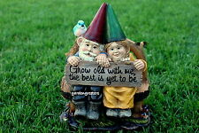 GNOME COUPLE STATUE MR. AND MRS. GNOME FIGURINES