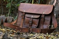 "Leather Shoulder Bag Mens Messenger Satchel 15"" Laptop Business Travel Briefcase"