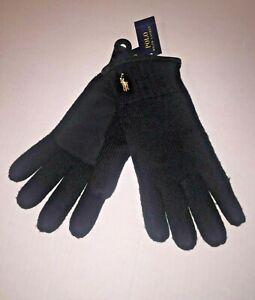 Polo Ralph Lauren Black Merino Wool / Suede Gloves Men's Size O/S