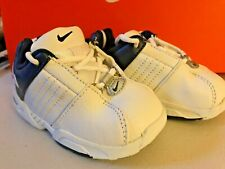 Nike Sneakers White/Navy/Silver Lace Leather Retro  NEW Little Boys Size  6 1/2