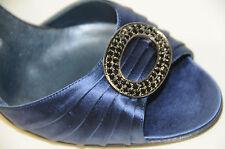 Nuevo Manolo Blahnik Sedaraby Azul Marino Plata Satinada Zapatos 40.5 10 Boda