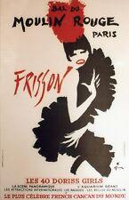 """""""BAL DU MOULIN ROUGE : FRISSON"""" Affiche originale entoilée GRUAU 1965 44x65cm"""