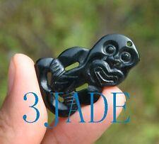 Natural Black Nephrite Jade Maori Hei Tiki Pendant Necklace New Zealand Art