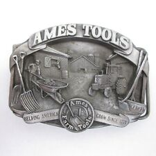 Vintage Ames Tools Metal Belt Buckle Helping America Grow Pewter Limited Edition