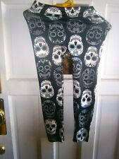 "Youth/Girls No Boundaries SKULLS DECO sz 3/5 stretch pants 19"" ins 22/24"" Waist"