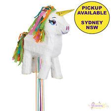 Unique White Unicorn Pinata Pull Ribbon Party Game - 46cm